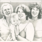 "I must have taken the photo on which I based this drawing, which was in Florida. Joy's mother, Rae Scott Katzman is on the left, one of truly nicest people I've ever known and equally intelligent; Joy and infant Dorie in the center; on the right, is Joy's older sister, Kathy Katzman Rolland, who, like her mother, is one of the sweetest, kindest people I know, and equally smart. As I liked to say to Joy to annoy her: ""I should have married the nice sister!"""