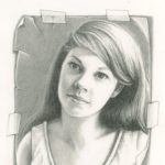 This drawing was made from one of the first photos I ever took of Joy, before we were married. I remember exactly where we were, in her parent's Hackensack home and it was possibly the 1st time I met her parents, both of whom I liked a lot. Joy used to kid that her stock went up with her parents when she brought me home because they liked me so much! Joy was about twenty-one at the time of this photo though she looks 16.