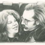 "This was drawn from a tiny, 2×3"" black and white photo. I love the romance of this drawing, the way we look at each other, our 70's hair!"